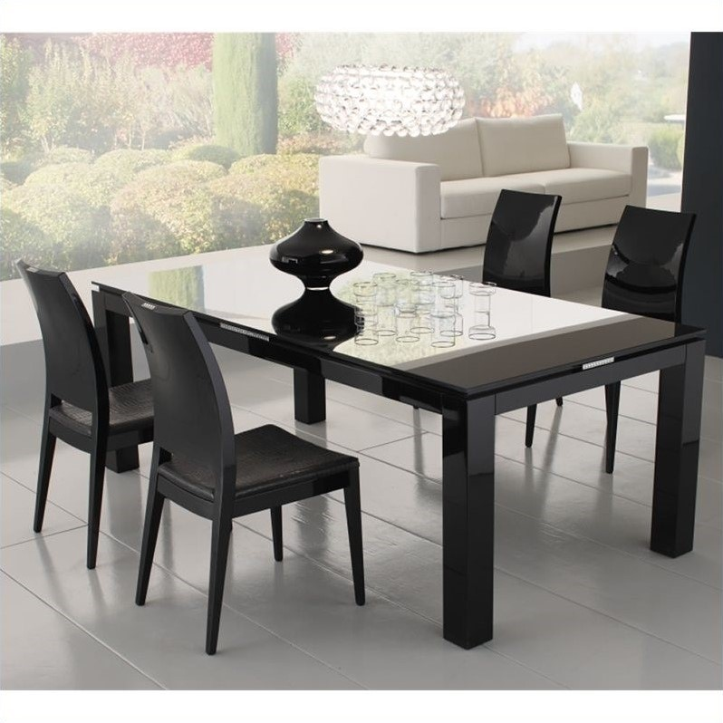 Rossetto Diamond Rectangular Dining Table with Glass Top in Black