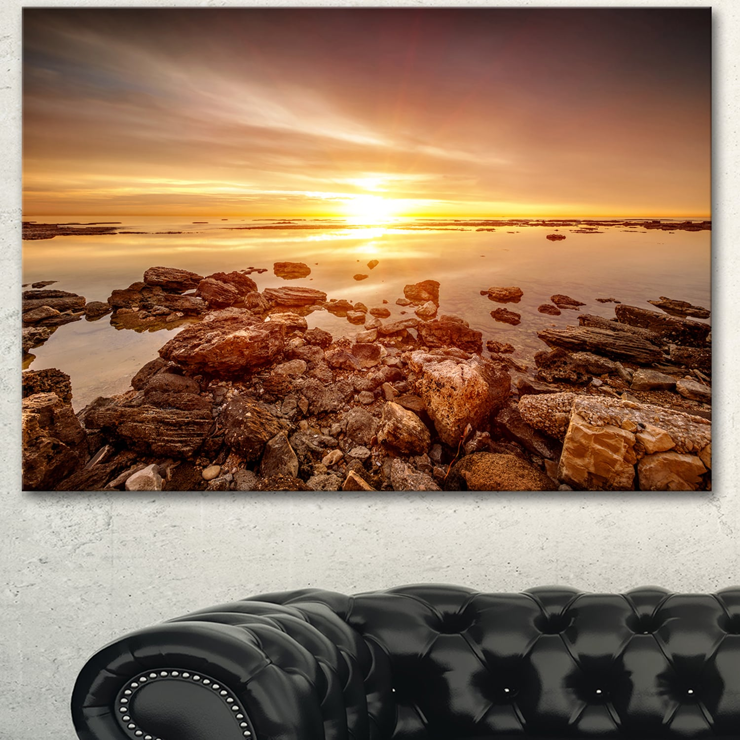 DESIGN ART Designart 'Beautiful Sunset Over Rocky Beach' Large Seashore Canvas Artwork Print
