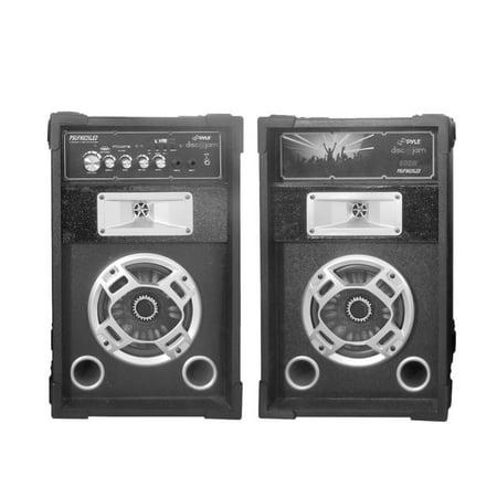 Pyle Disco Jam Dual Bookshelf Stereo Speaker System, USB/SD/MP3 Streaming, FM Radio, Flashing DJ Party Lights