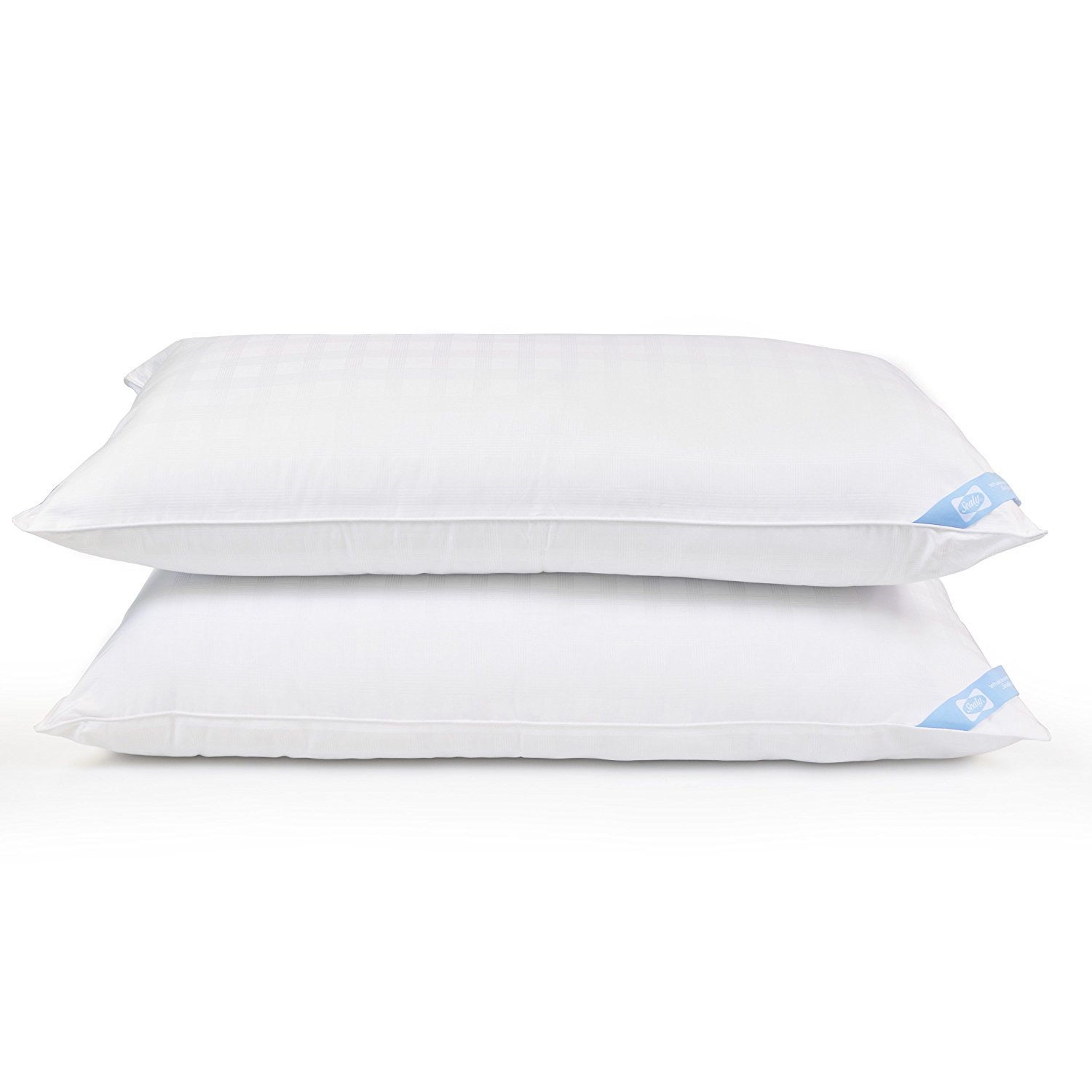 Classic 300 TC Plaid Twin Pack Bed Pillows Hypoallergenic Memory Gel Polyester Fiber Medium Density King Size Only Set... by