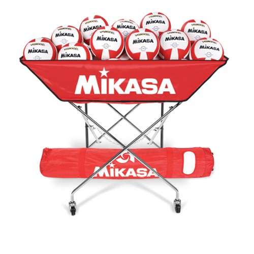 Volleyball Cart for 24 Balls by Mikasa Sports, Scarlet Red - 48'' x 22'' x 40''