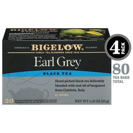 Bigelow Earl Grey Black Tea, Tea Bags, 20 Ct (4 Boxes)