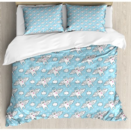 Angel Queen Size Duvet Cover Set, Cat Angels Flying High Hearts Happiness Kids Nursery Kitty Love Heavenly Wings, Decorative 3 Piece Bedding Set with 2 Pillow Shams, Sky Blue White, by