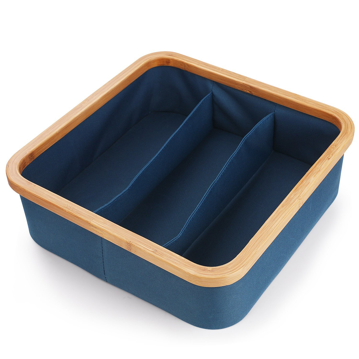 5 Year Warranty Blue Storage Container Basket (Bamboo Material), Durable  Canvas Cloth Drawer