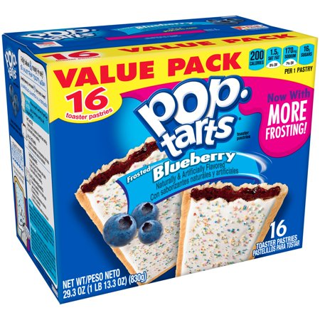 - (8 Pack) Kellogg's Pop-Tarts Breakfast Toaster Pastries, Frosted Blueberry Flavored, Value Pack, 29.3 oz 16 Ct