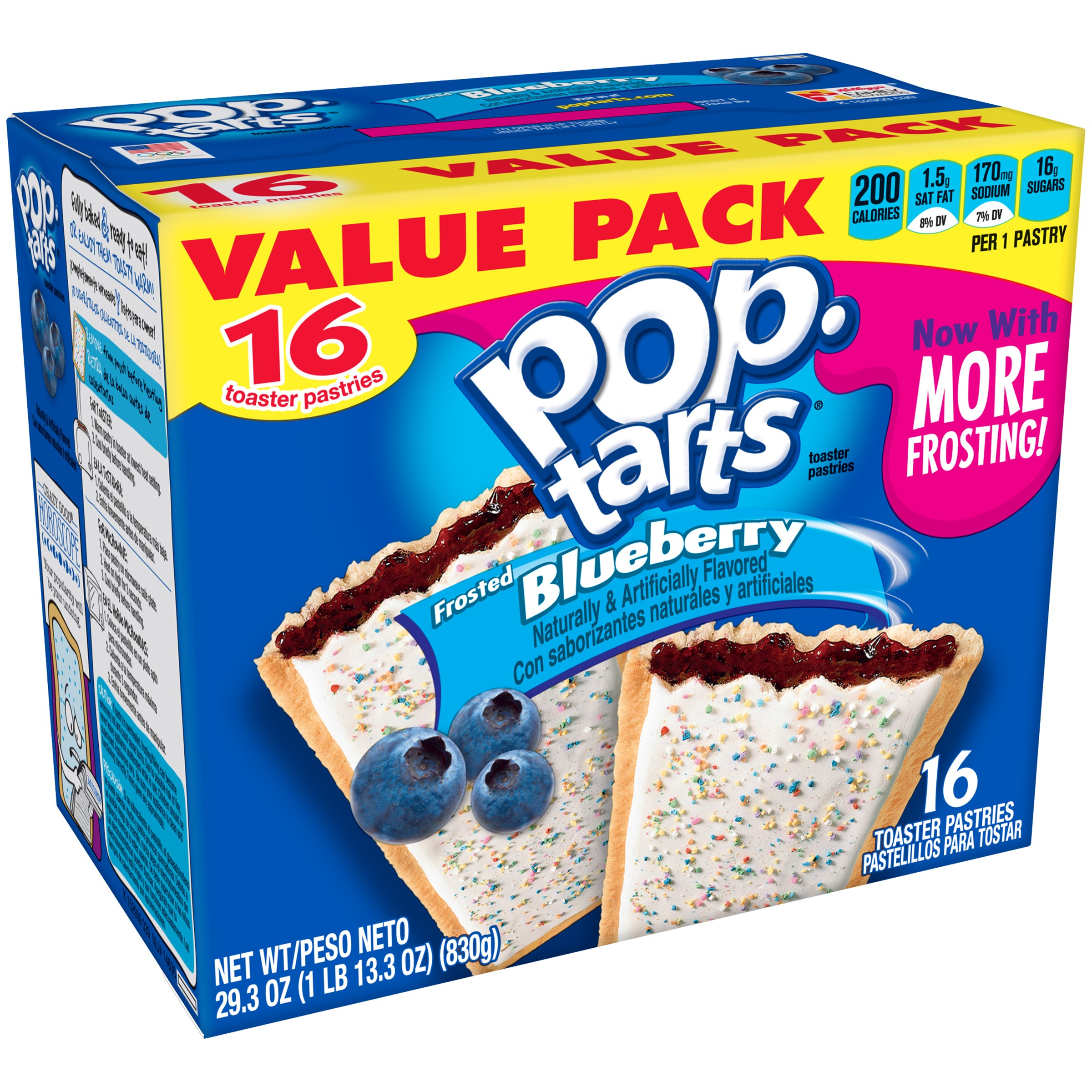 Kellogg's Pop-Tarts Breakfast Toaster Pastries, Frosted Blueberry Flavored, Value Pack, 29.3 oz 16 Ct