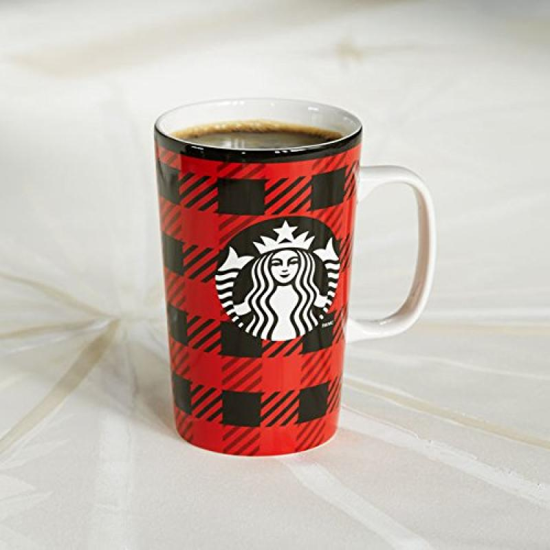2014 Dot Collection Plaid Black and Red Starbucks 16oz Boxed Mug