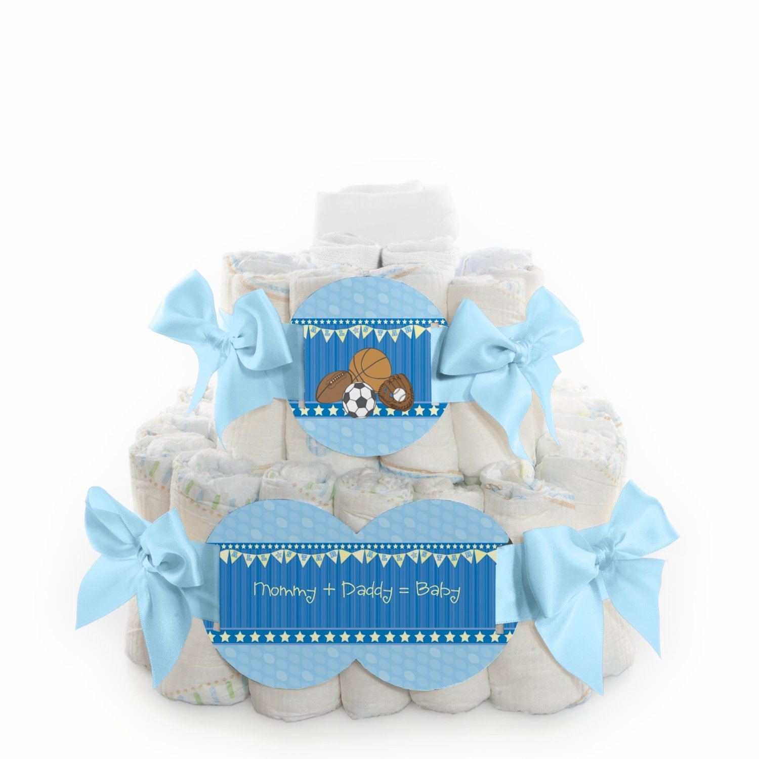 All Star Sports - 2 Tier Square Baby Shower Diaper Cake