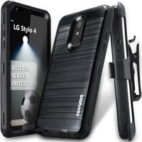 LG Stylo 4 / Stylo 4 Plus / 4 + Case, COVRWARE [Iron Tank] Built-in [Screen Protector] Heavy Duty Full-Body Rugged Holster Armor [Brushed Metal Texture] Case [Belt Clip][Kickstand], Black