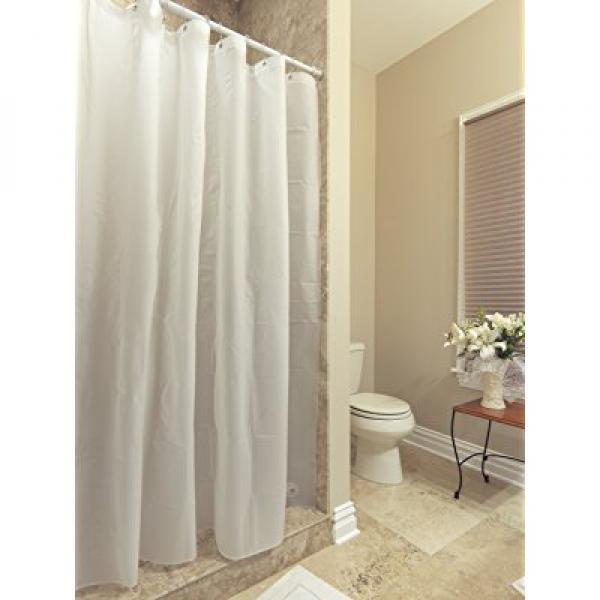 """Ottomanson Shower Curtain Liner Frost Privacy with Bottom Magnets with Reinforced Grommets, 70"""" X 72"""", White,(Pack of 2)"""