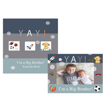 YAY Im A Big Brother, Baby Sibling Keepsake Memory Book and Picture Photo Frame Set for Kids ()