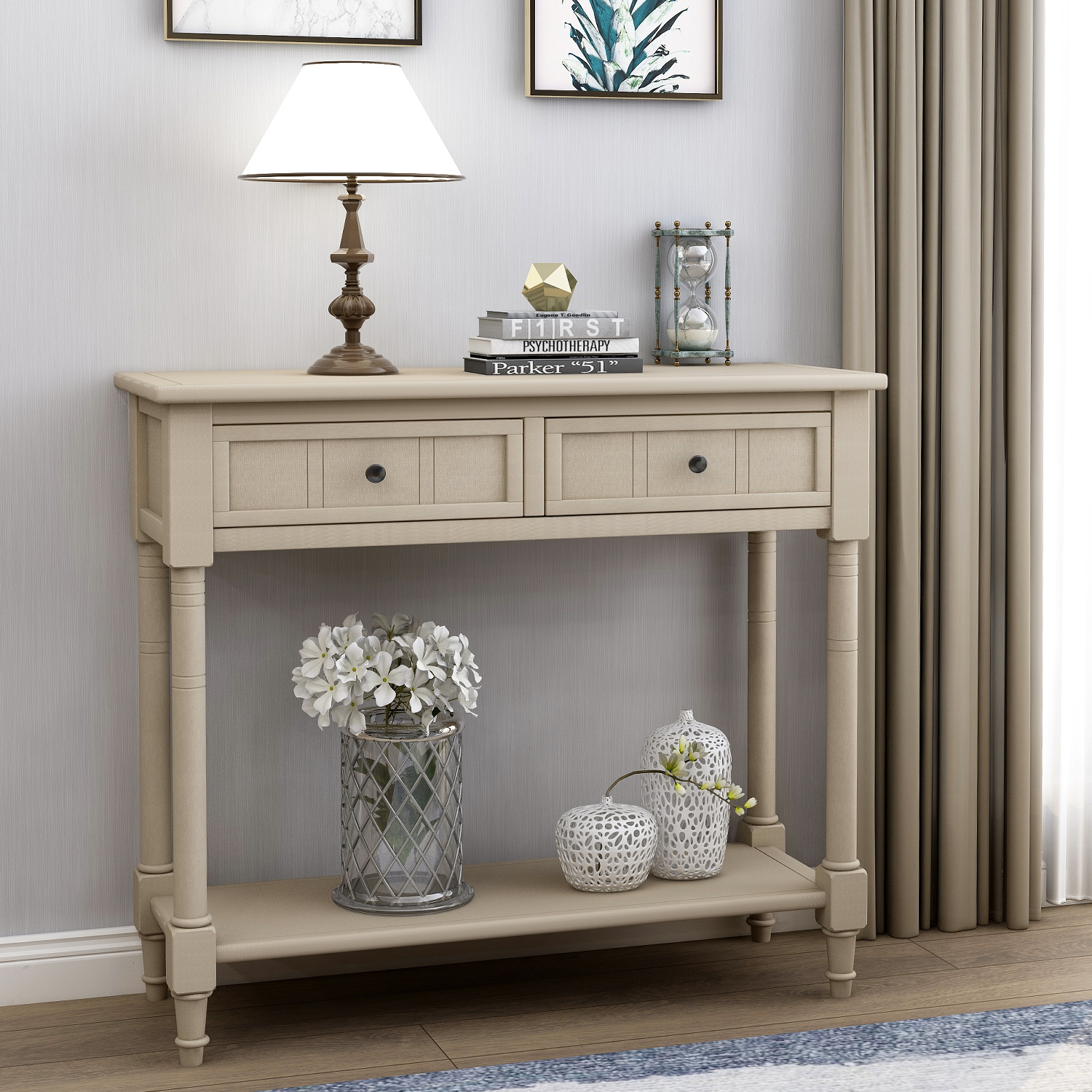 """JUMPER 35"""" Console Table Retro Solid Wood Storage Console Table"""