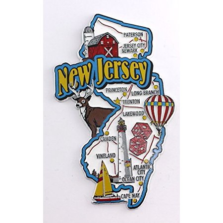 New Jersey State Map and Landmarks Collage Fridge Souvenir Collectible Magnet ()