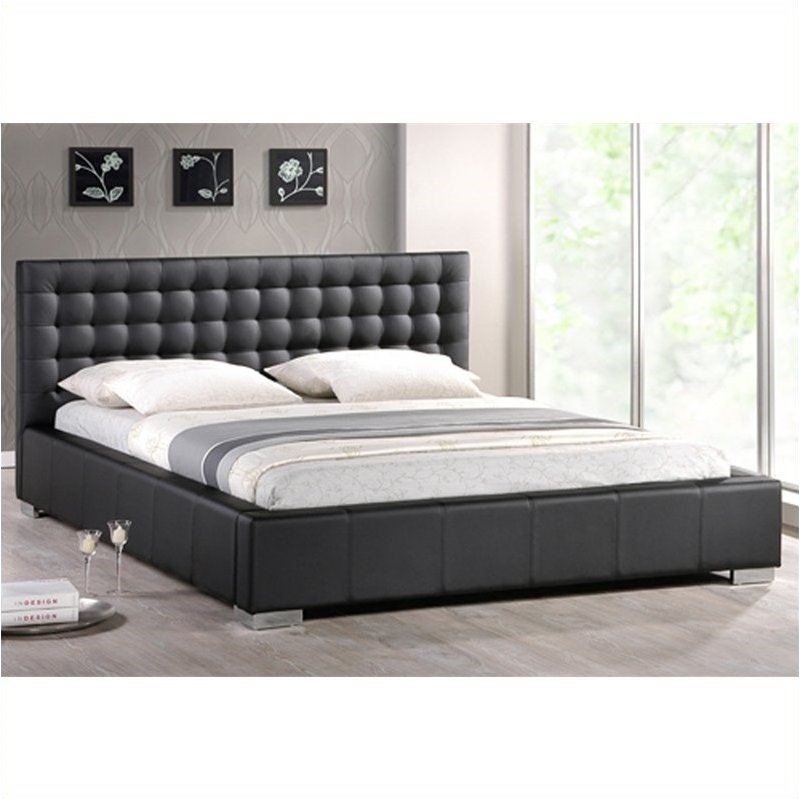 Bowery Hill Tufted Queen Platform Bed in Black