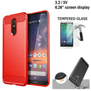 "Phone Case For Verizon Wireless Nokia 3V 16GB Prepaid Smartphone, Nokia 3.2 Case (6.26"") Brush Textured Slim-Flex Gel Cover (Brush Flex Gel Red +Tempered Glass)"