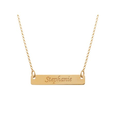 Personalized Gold over Sterling Silver Name Bar - Personalized Dog Tags For Boyfriend
