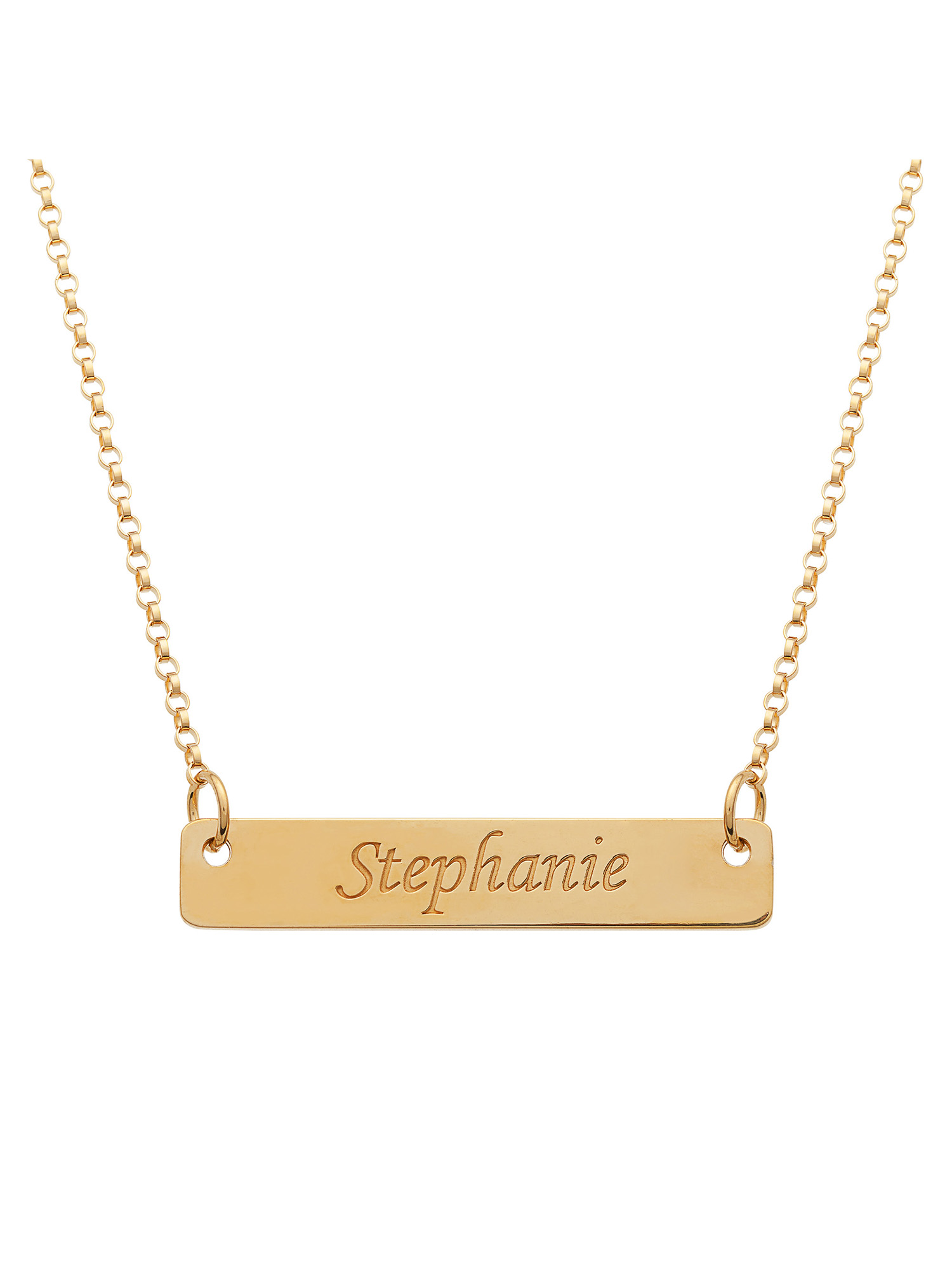 Personalized Gold over Sterling Silver Name Bar Pendant