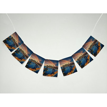 GCKG New York City Beautiful Sunset over Manhattan Banner Bunting Garland Flag Sign for Home Family Party - Party City In Manhattan New York