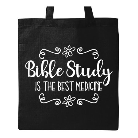 Bible Study Best Medicine WHT Tote Bag - Bible Bag