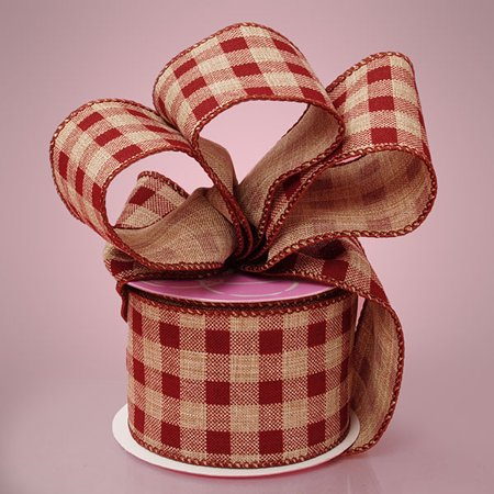 Gingham Wrap - Brown Gingham 2-1/2 inches x 10 yards Rustic Jute Wired Decorative Ribbon