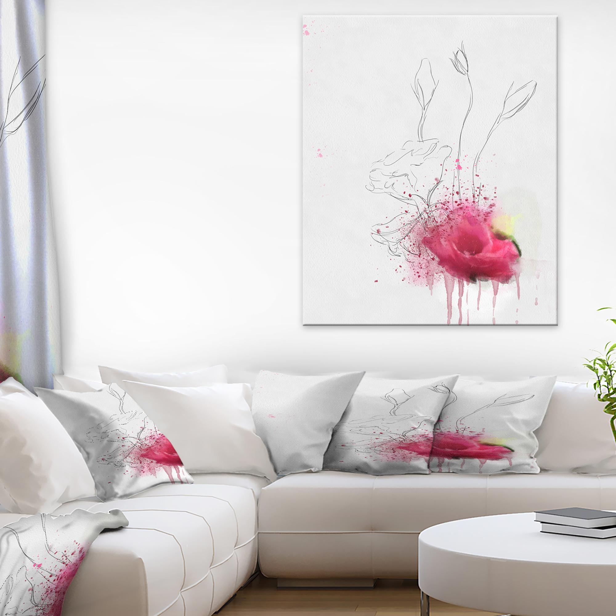 Rose Flowers Sketch with Color Splashes - Floral Canvas Art Print - image 3 de 3