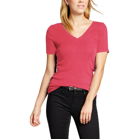 Womens V Neck Short Sleeve T Shirt Classic Plain Athletic Basic Cotton Tee