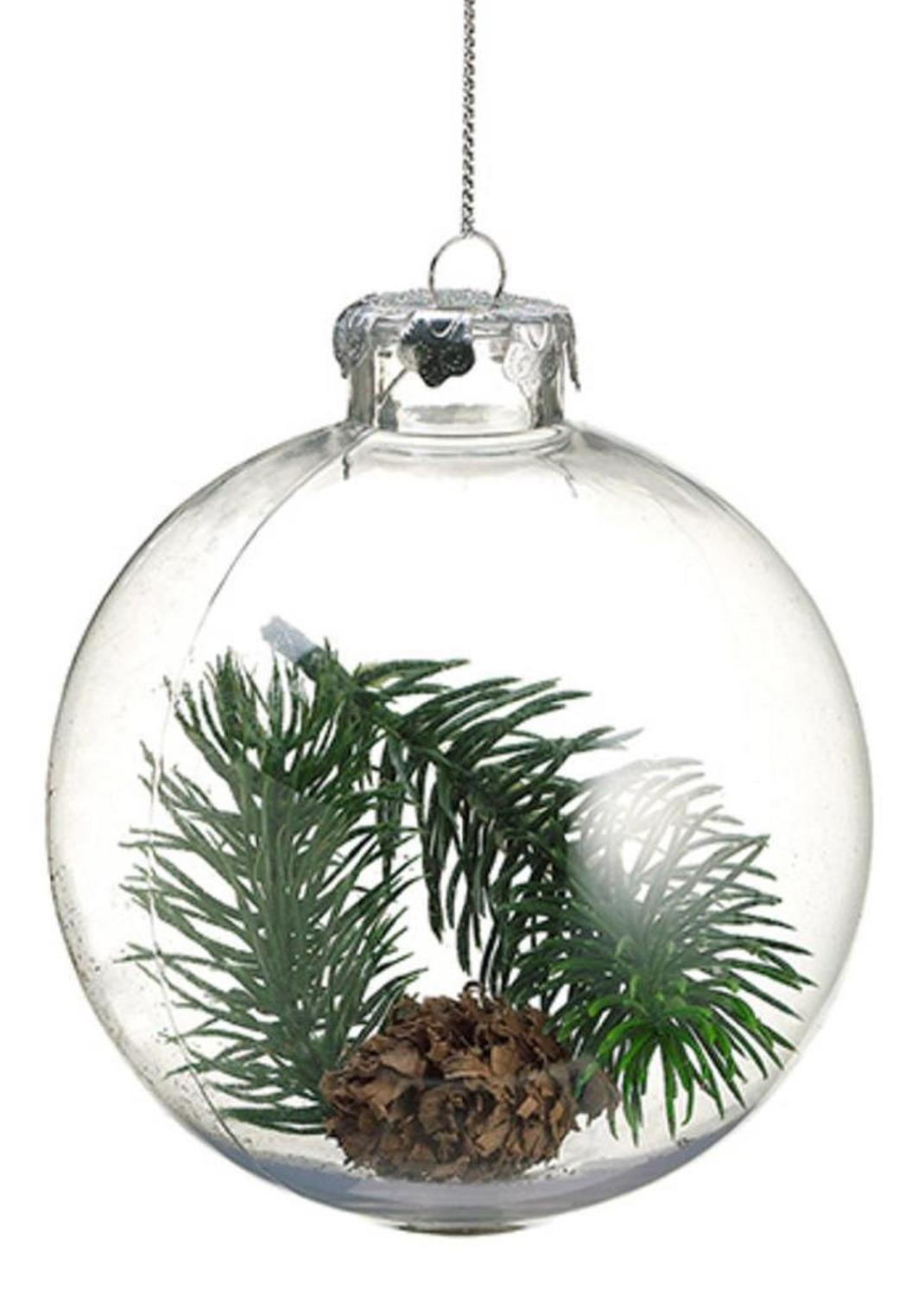 """4"""" Country Cabin Winterfall Pine and Cones Inside Clear Christmas Ball Ornament"""