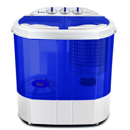 Ktaxon 10LBs Washer Electric Mini Washer & Spin Dryer Portable Compact Laundry Combo,Wash 5.6LBS+Spin 4.4LBS Capacity,White & Blue (Electric Stacked Washer Dryer)