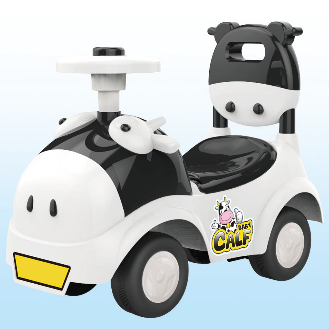 POCO DIVO Baby Calf 3-in-1 Walker Low-seat Ride On Toy Sliding Car Pushing Cart with Sound - Black/White