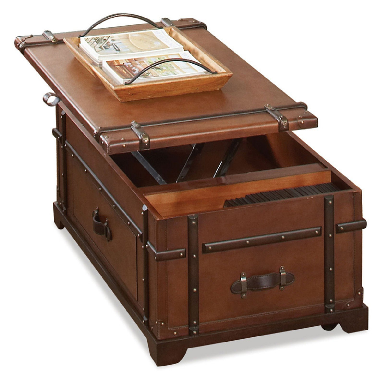 Riverside Latitudes Steamer Trunk Lift Top Cocktail Table - Aged Cognac Wood
