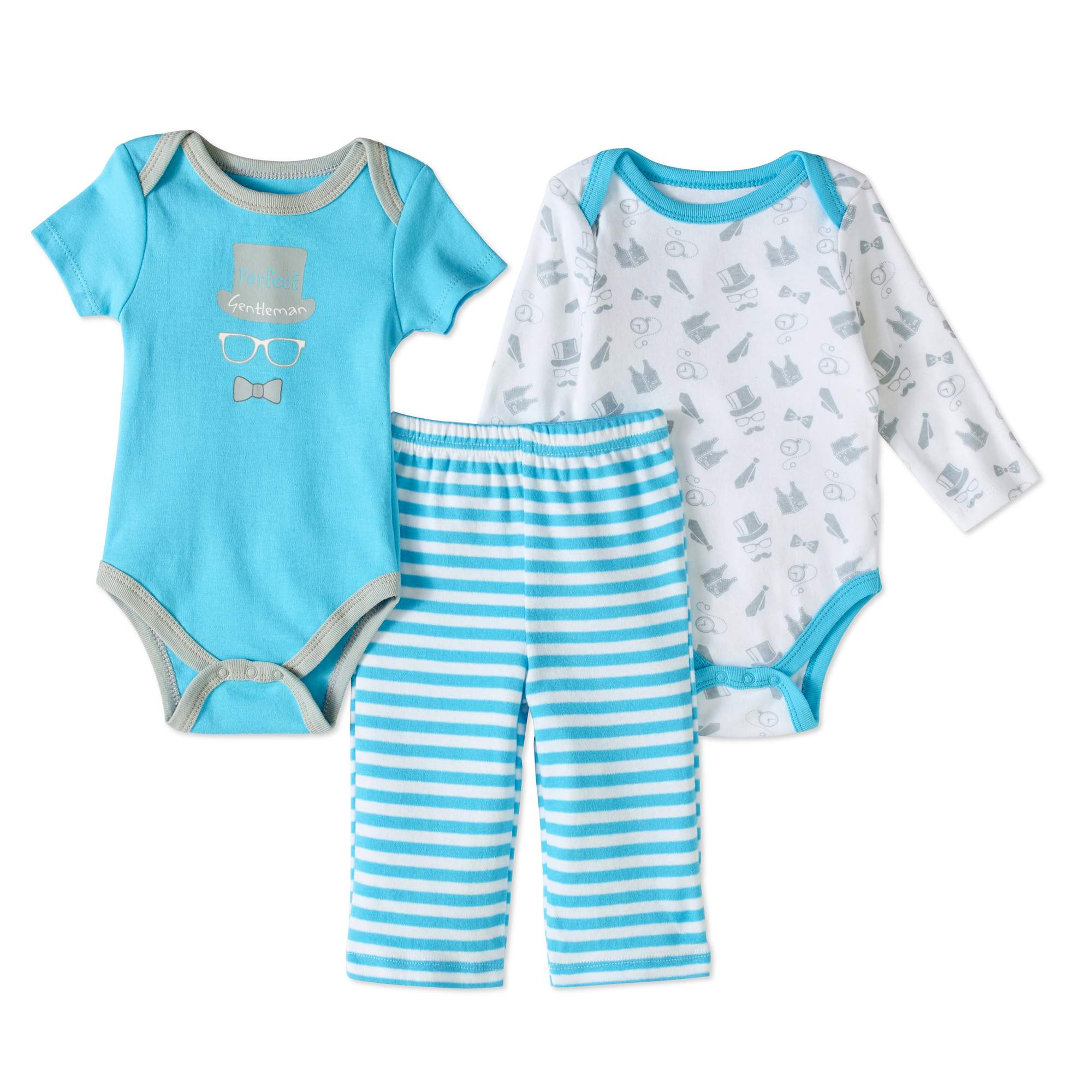 Quiltex Newborn Baby Boys' Turn-Me-Around 3-Piece Set