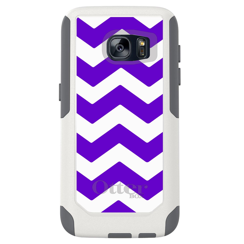 DistinctInk™ Custom White OtterBox Commuter Series Case for Samsung Galaxy S7 - Purple White Chevron Stripes