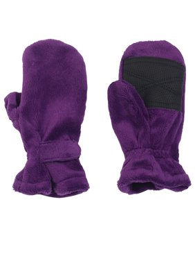 Cozy Cub Baby and Toddler Girl Winter Mittens - Easy-On Minky Fleece with Gripper Palms - Purple and Black