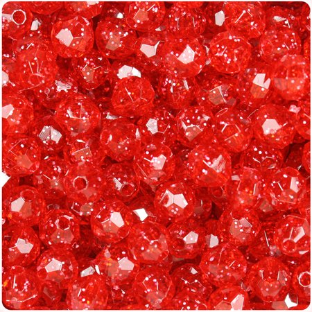 BeadTin Ruby Sparkle 8mm Faceted Round Craft Beads -