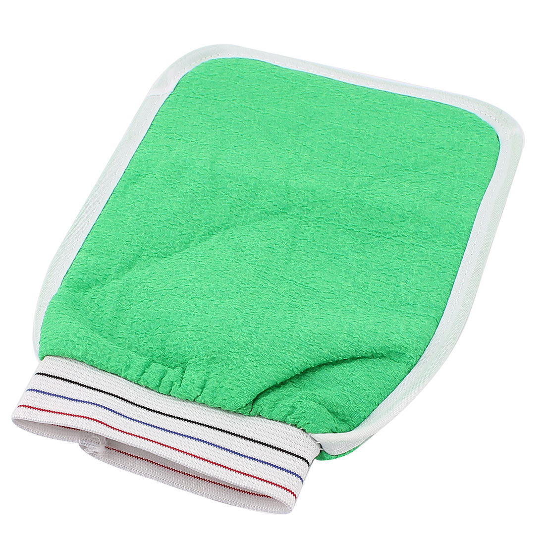 Unique Bargains Elastic Cuff Double Side Shower Bath Washing Massage Glove Scrubber Green for Home Essential