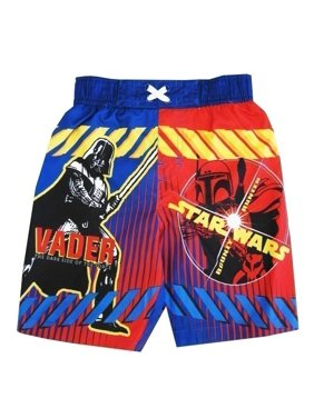 Little Toddler Boys Royal Blue Red Darth Vader Swimwear Shorts 3T
