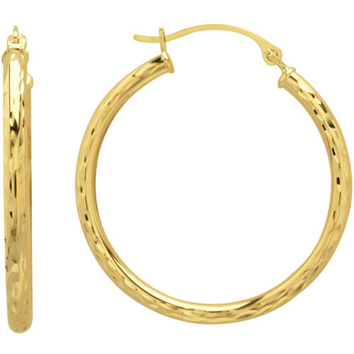 Simply Gold 10kt Yellow Gold Diamond-Cut Hoop Earrings