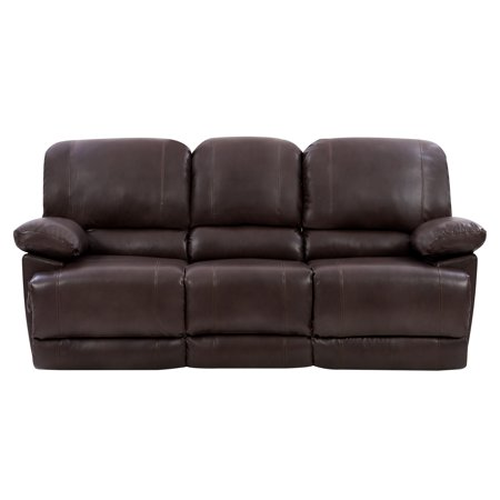 CorLiving LZY-342-S Plush Power Reclining Chocolate Brown Bonded Leather Sofa with Fold-Down Console and Cupholders with USB Port ()