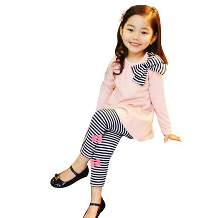 Kids Girls Pink Bowknot Striped Leggings Outfit Sweatshirt Pants Two-piece Suit Set