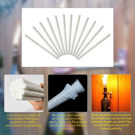 12pcs Replacement Fiberglass Tiki Wick for Wine Bottle Tiki Torches Outdoor Decor,Patio Lighting,Garden Light