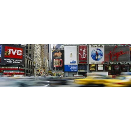 Traffic On A Street Times Square Manhattan NYC New York City New York State USA Canvas Art - Panoramic Images (18 x 6)