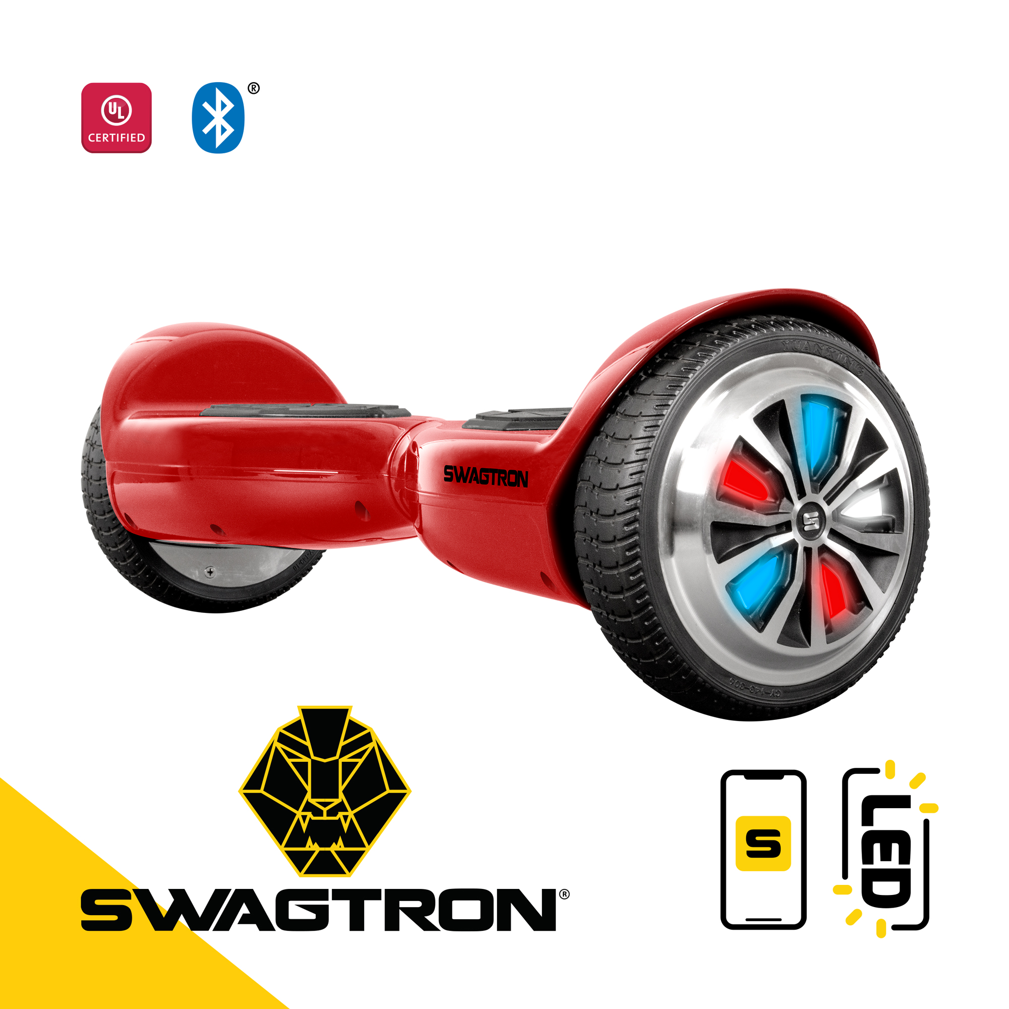 SWAGTRON Swagboard Classic T500 Bluetooth Hoverboard with LED Light Up Wheels and Patented Battery