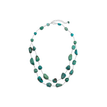 Two Strand Graduated Reconstituted Turquoise Nugget Sterling Silver Necklace
