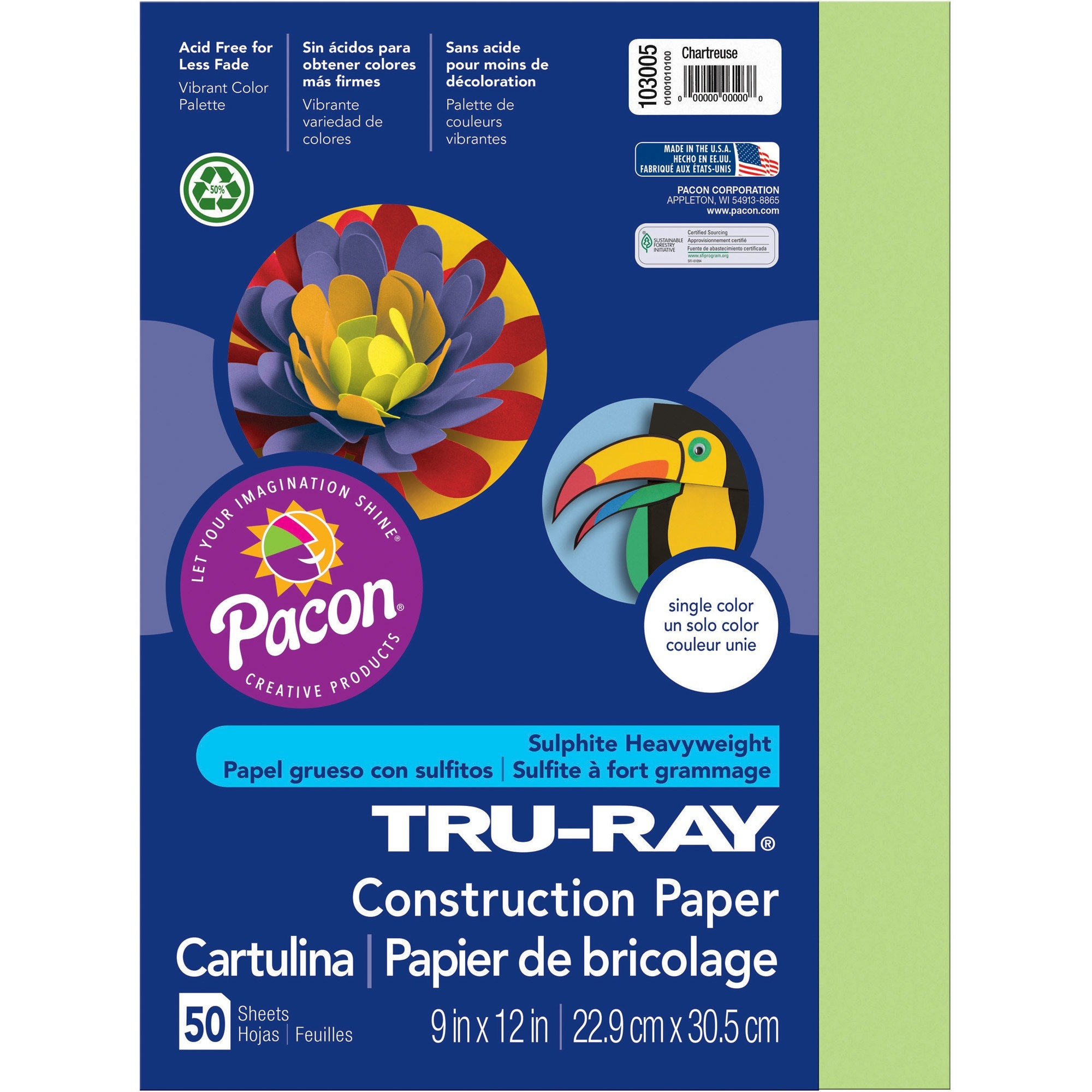 Tru-Ray, PAC103005, Construction Paper, 50 / Pack, Chartreuse