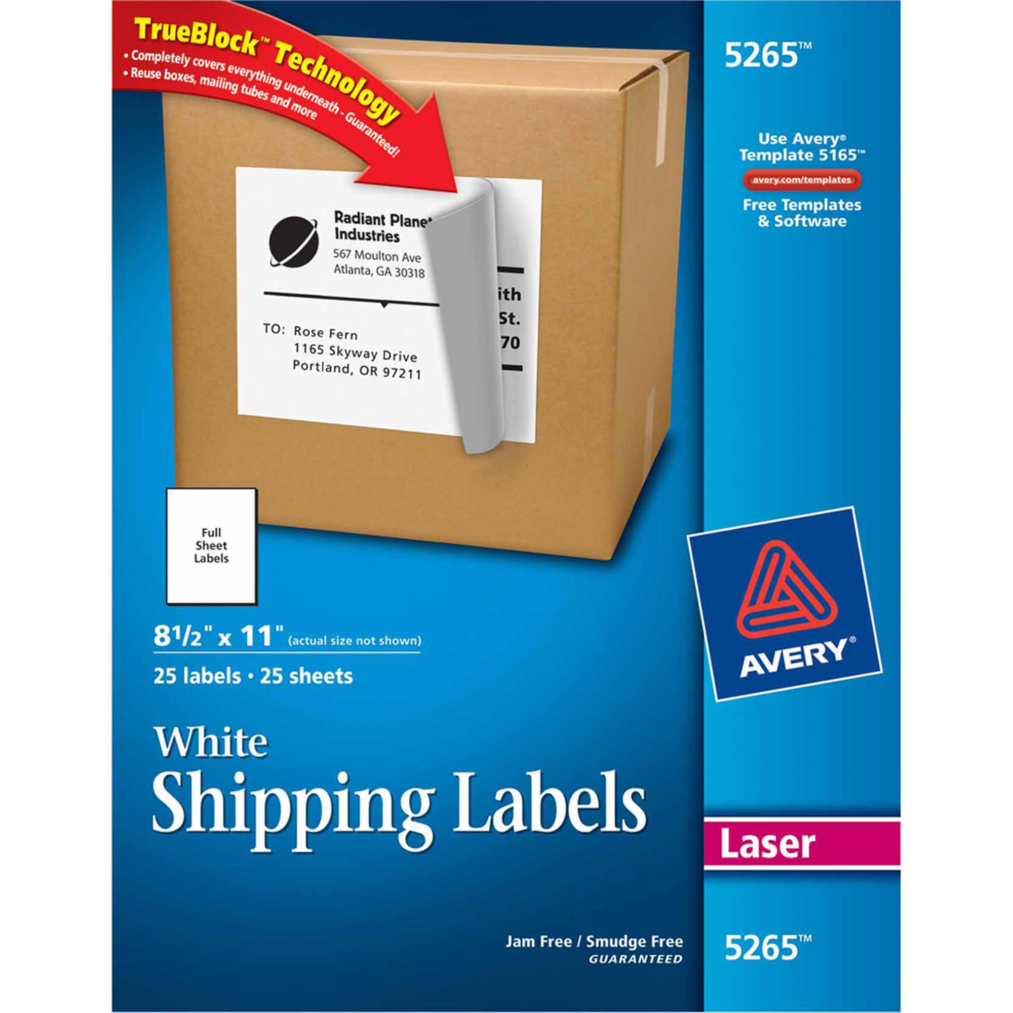 Avery Full Sheet Labels, 8-1/2 x 11, White, 25/Pack