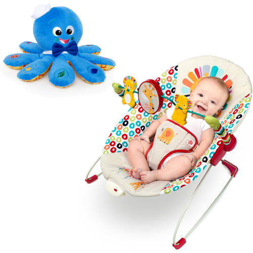Bright Starts Playful Pinwheels Bouncer with BONUS Octoplush Toy