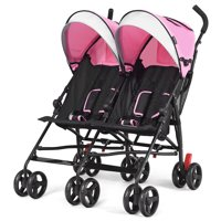 Baby Joy Foldable Twin Baby Double Stroller, Pink