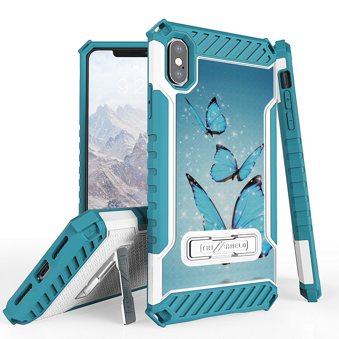 Beyond Cell Tri Shield Military Grade Shock Proof [MIL-STD 810G-516.6] Kickstand Case Cover for iPhone Xs Max - Blue Butterfly