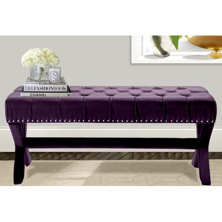 Chic Home Bentley Velvet Modern Contemporary Button Tufted with Silver Nailheads Seating, Frame and Legs X-Leg Tufted Bench, Plum ()