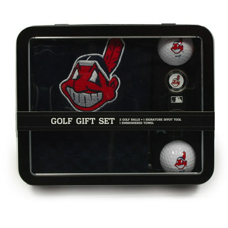 Team Golf MLB Cleveland Indians Embroidered Golf Towel, 2 Golf Balls, And Divot Tool Set by